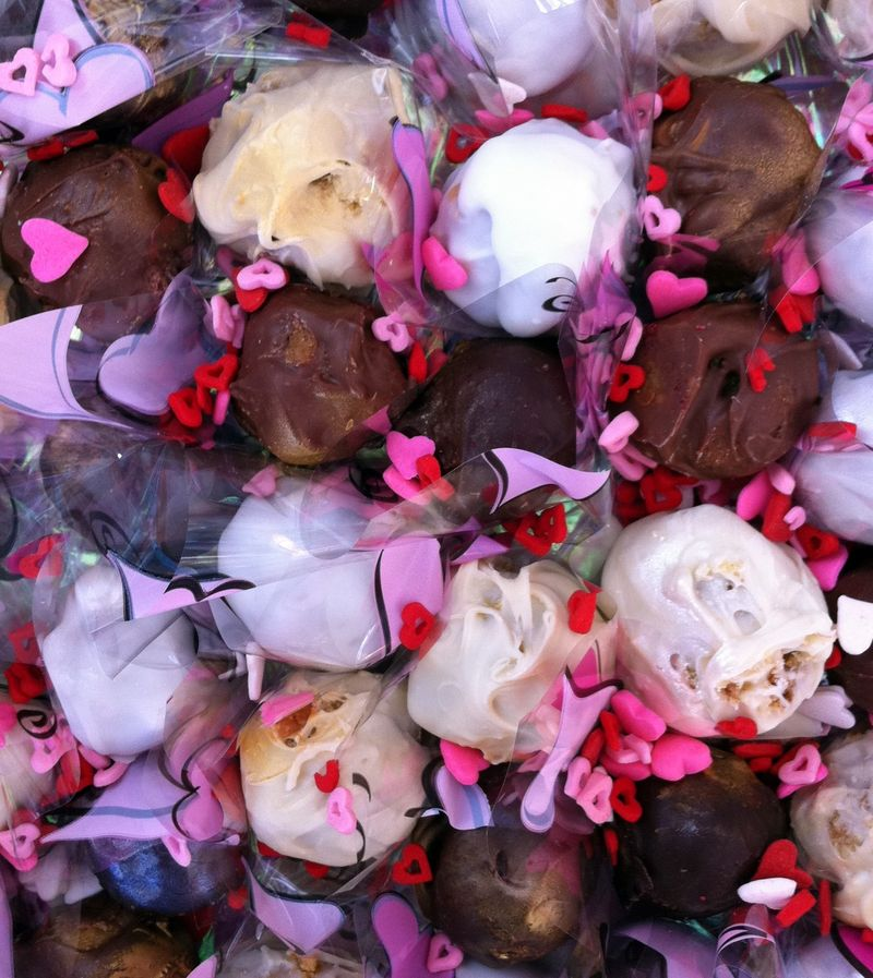 Hand Dipped Celebration Bon Bons, Valentine style, up close